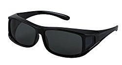 LensCovers Wear Over Sunglasses Medium-Rectangle Frame, Black with Polarization