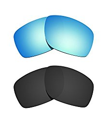 Littlebird4 2 Pairs Polarized Replacement Lenses for Oakley Canteen 2014 Sunglasses (Black-Ice Blue)
