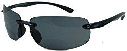 Lovin Maui Wrap Around Polarized Nearly Invisible Line Bifocal Sunglasses/black/2.00 Strength