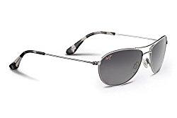 Maui Jim Baby Beach GS245-17 Polarized Aviator Sunglasses,Silver Frame/Neutral Grey Lens,One Size