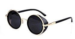Men Retro Coating Vintage Round Sunglasses Women Sun Glasses (Gold F Grey Lens, 5)