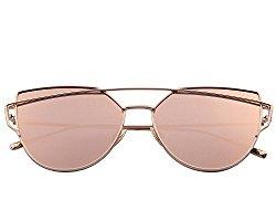 MERRY'S Fashion Women Cateye Sunglasses UV Protection eye glasses Coating Mirror Flat Panel Lens UV400 S7882 (Pink, 56)