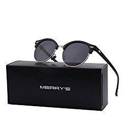 MERRY'S Polarized Sunglasses for Men Women Semi Rimless Retro Brand Sun Glasses S8054 (Silver&Black, 56)