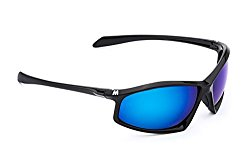 MORR ARRISTOTLE Z65 Sport Sunglasses with Mirrored Lenses for Mountain Biking, Cycling, Motorcycle, Shooting, Climbing (Blue Mirror Lens / Black Frame)