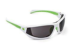 MORR MARRCONI Z75 Sport Sunglasses with Fog ARMORR Anti-Fog Lenses and Foam Padded Frame for Mountain Biking, Cycling, Motorcycle Riding (Gray Lens / Green on White Frame)