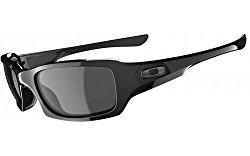 Oakley Men's Fives Squared OO9238-04 Rectangular Sunglasses, Polished Black, 54 mm
