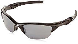 Oakley Men's Non-Polarized Half Jacket 2.0Oval Sunglasses,Polished Black Frame/Black Iridium Lens,One Size