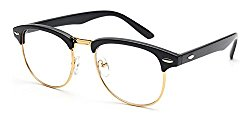 Outray Vintage Retro Classic Half Frame Horn Rimmed Clear Lens Glasses 2135c1 Black/Gold