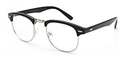 Outray Vintage Retro Classic Half Frame Horn Rimmed Clear Lens Glasses 2135c2 Black/Silver