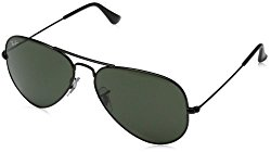 Ray-Ban 0RB3025 Aviator Metal Non-Polarized Sunglasses, Black/ Grey Green, 58mm