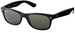 Ray-Ban RB2132 – New Wayfarer Non-Polarized Sunglasses Black Frame Crystal Green Lens Size 55