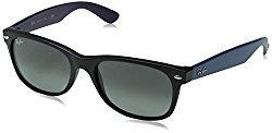 Ray-Ban RB2132 New Wayfarer Non Polarized Sunglasses, Black Matte, Dark Gray Gradient, 55 mm