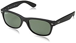 Ray Ban RB2132 Wayfarer Sunglasses-622/58 Rubber Black/Polarized Green Lens-55mm