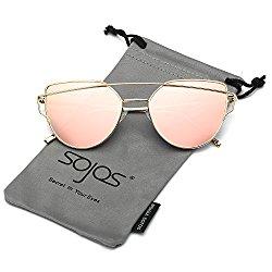 SojoS Cat Eye Mirrored Flat Lenses Street Fashion Metal Frame Women Sunglasses SJ1001 With Gold Frame/Pink Lens