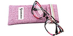 SOOLALA Womens Designer Cat Eye Metal Arms Reading Glasses Customized Strengths, Blue, +2.75D