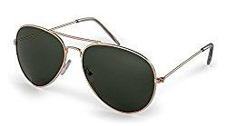 Stylle Aviator Sunglasses, Gold Frame With G15 Lenses, 100% UV Protection