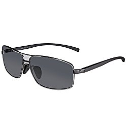 SUNGAIT Ultra Lightweight Rectangular Polarized Sunglasses 100% UV protection (Gunmetal Frame Gray Lens, 62)