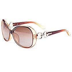 VeBrellen Luxury Transparent Women's Polarized Sunglasses Retro Eyewear Oversized Square Frame Goggles Eyeglasses (Transport Frame With Dark Brown Lens, 60)