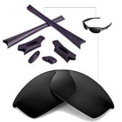 Walleva Polarized Lenses And Rubber Kit(Earsocks+Nosepads) For Oakley Flak Jacket (Black Polarized Lenses + Black Rubber)