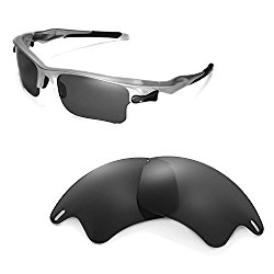 Walleva Replacement Lenses for Oakley Fast Jacket XL Sunglasses -Multiple Options Available (Black)