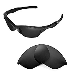 Walleva Replacement Lenses for Oakley Half Jacket 2.0 Sunglasses – Multiple Options Available (Black)