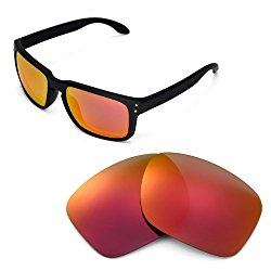 Walleva Replacement Lenses for Oakley Holbrook Sunglasses – Multiple Options Available (Fire Red)