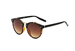 Women Vintage Mirror UV400 Round Sunglasses Eyewear Retro Sun Glasses (Brown, 5.5)