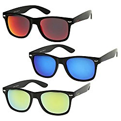 zeroUV – Matte Finish Reflective Color Mirror Lens Large Square Horn Rimmed Sunglasses 55mm (3 Pack   Blue + Red + Yell)