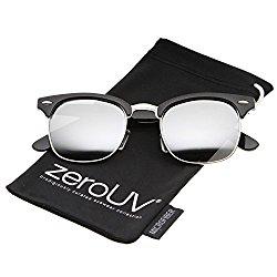 zeroUV – Premium Half Frame Horn Rimmed Sunglasses with Metal Rivets (Flash Mirror Series   Shiny-Black-Silver / Mirror)