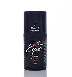 J BEAUTY Naturals MyEyes Treatment Gel with Peptides and Hyaluronic Acid for Dark Circles Puffiness Wrinkles and Bags. Best Eye Gel for fighting the signs of skin aging under and around eyes. 15ml.