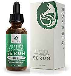 Peptide Complex Serum – BEST Anti Aging Serum – Anti Wrinkle Skin Care – Advanced Delivery – Facial Skin Care – Natural & Organic – Plump, Smooth and Even Skin – For Collagen Production & Optimal Skin Health – Amazing Guarantee 1oz