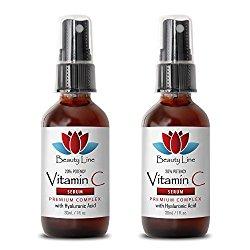 Wrinkle remover for eyes – VITAMIN C SERUM Premium Complex With Hyaluronic Acid – Wrinkle vitamin – 2 Bottles