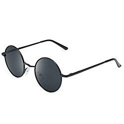 Joopin-Round Retro Polaroid Sunglasses Driving Polarized Glasses Men Steampunk (Black, Simple packaging)