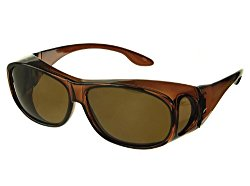 LensCovers Sunglasses Wear Over Prescription Glasses – Medium Size Polarized (Brown)