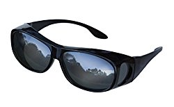 LensCovers Sunglasses – Wear Over Prescription Glasses. Size Medium with Reflective Lens