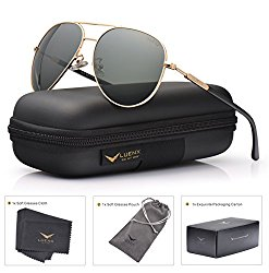 Mens Womens Sunglasses Aviator Polarized Driving by LUENX – UV 400 Protection Grey Green Lens Gold Metal Frame 60mm