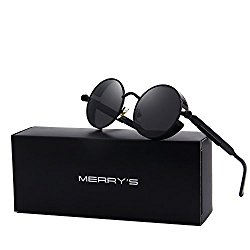 MERRY'S Gothic Steampunk Sunglasses for Women Men Round Lens Metal Frame S567(Black, 46)