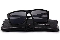 MERRY'S Men Polarized Sunglasses Fashion Male Sun glasses 100% UV Protection S8225 (Black, 58)