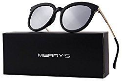 MERRY'S Women Cat Eye Polarized Sunglasses Mirrored Lens UV Protection S6152 (Silver, 53)