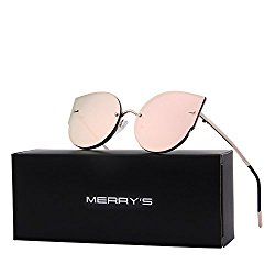 MERRY'S Women Classic Cat Eye Sunglasses Rimless Metal Frame Sun Glasses S8099 (Gold&Pink, 54)