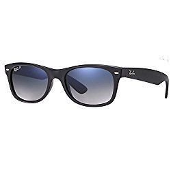 Ray-Ban rb2132 Unisex New Wayfarer Polarized Sunglasses, Matte Black/Blue Gradient Grey, 55mm