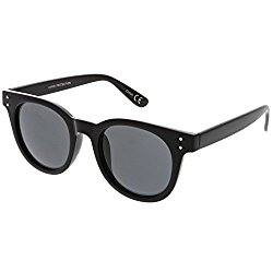 sunglassLA – Classic Horned Rimmed Sunglasses High Sitting Arms Round Neutral Color Lens 49mm (Black / Smoke)
