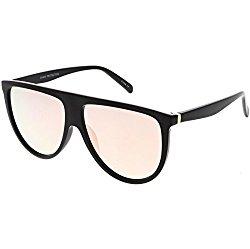 sunglassLA – Oversize Modern Aviator Sunglasses Flat Top Color Mirrored Lens 59mm (Black / Pink Mirror)