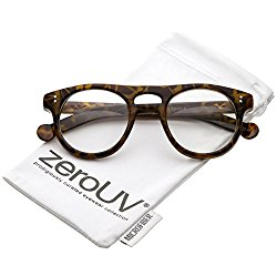 zeroUV – Classic Keyhole Nose Bridge Round Clear Lens Horn Rimmed Eye Glasses 47mm (Tortoise / Clear)