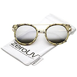 zeroUV – Modern Sleek Double Nose Bridge Round Color Mirrored Lens Horn Rimmed Sunglasses 51mm (Beige Gold / Silver Mir)