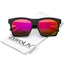 zeroUV – Modern Square Color Mirrored Flat Lens Horn Rimmed Sunglasses 54mm (Black / Magenta Mirror)