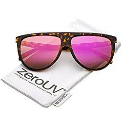zeroUV – Oversize Modern Flat Top Color Mirrored Flat Lens Aviator Sunglasses 59mm (Tortoise / Magenta Mirror )