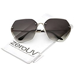 zeroUV – Oversize Rimless Beveled Gradient Lens Geometric Sunglasses 70mm (Gold / Grey Gradient)