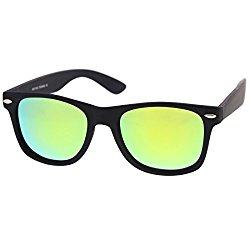 zeroUV – Rubberized Frame Reflective Mirror Polarized Lens Square Horn Rimmed Sunglasses 55mm (Polarized | Rubberized /)
