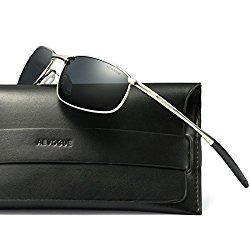 AEVOGUE Polarized Sunglasses For Men Rectangle Metal Frame Retro Sun Glasses AE0535 (Silver&Black, 59)